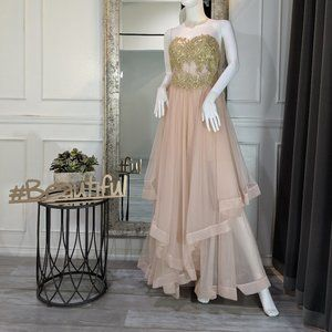 Pink & Gold Formal Evening Prom Dress Gown
